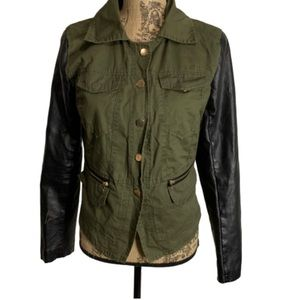 Boy meets Girl military army green leather jacket